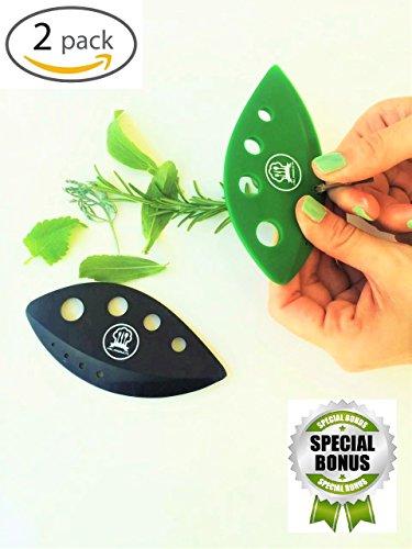 Herb Stripper Tool - Kale,Chard,Taragon,Thyme,Collard Greens with plastic edge shear knife to chop herbs 2 Units in Set + As