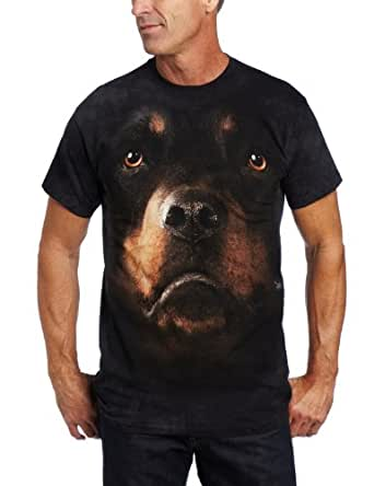 The Mountain Rottweiler Face Adult T-Shirt (SMALL, Black)