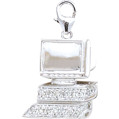 14K DIAMOND COMPUTER CHARM- WHITE GOLD