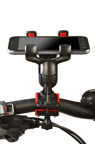 Bike Mount Horizontal Holder for Smartphone - 360 Degree Rotation - Firm 85mm Grip - Universal Bicycle Phone Accessories, Holders and Mounts for iPhone 4, 4S, 5, 5C, 5S, 6, HTC One, Samsung Galaxy S3, S4, S5, Lumia 520 HTC One S, Lumia 920, Sony Xperia Z, Google Nexus 4, 5 and Moto G