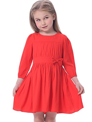 bonny-billy-girls-long-sleeve-solid-pleated-a-line-children-dress-with-bow-8-9-years-red