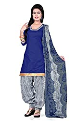Lovely Look Latest Blue Printed Dress Material