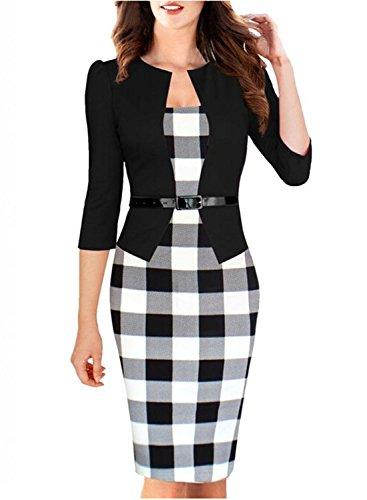 Viwenn-Women-Elegant-Colorblock-Long-Sleeve-V-Neck-Business-Party-Dress