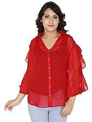 Gugg Women's Self Design SHIRT [GS16A71_RED]