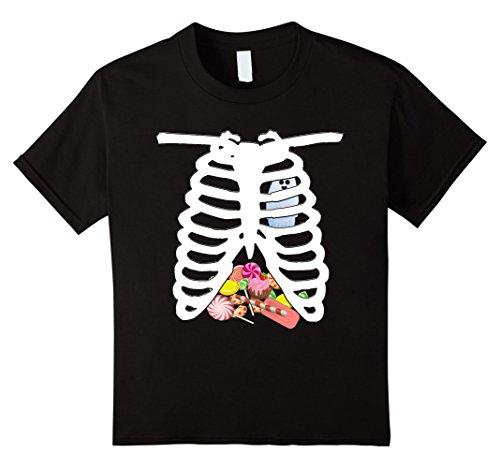 Kids Halloween Skeleton Costume T-Shirt Candy Rib-cage X-Ray 4 Black (Xray Skeleton Kids Costume)
