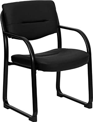 Flash Furniture BT-510-LEA-BK-GG Black Leather Executive Side Chair