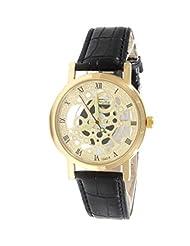 GT Gala Time Skeleton Roman Dial Black Leather Strap Gold Case Wrist Watch For Men - B017841E14