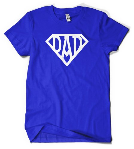 (Cybertela) Super Dad Sign Men's T-shirt Family Hero Tee (Royal Blue, Large)