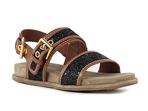 Sandali bassi Car Shoe in cuoio e Brillantini nero - Codice modello: KDX88K 1O74 F0002 - Taglia: 36.5 IT