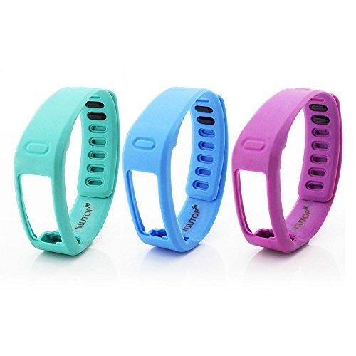NIUTOP® 3pcs Bande di ricambio con Metal Clasps per Garmin Vivofit Wireless Activity braccialetto Sport Wristband ~No tracker, Replacement Bands Only (verde+blu+viola, large)