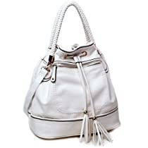 Dasein Designer inspired hobo bag w/ drawstring tassel & braided strap accents -White
