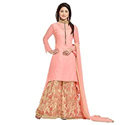 Aika Women's Georgette Fabric Embroidered Plazo Dress Material In Peach Color (Free Size_DR075PA1328-at)