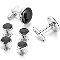 Silver Black Rhodium Plated Enamel Cufflinks Stud Set Tuxedo