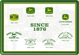 John Deere logos since 1876 metal postcard / mini-sign