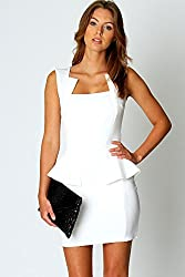 Qurves-White Graceful Womanly Party Peplum Dress