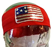 Sequin American Flag USA Stretch Headband - Patriotic Flag Headband (Red Band)
