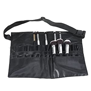 24 poches Maquillage PVC pinceau cosmétique professionnelle Tablier Sac Artiste Ceinture attache de la noir