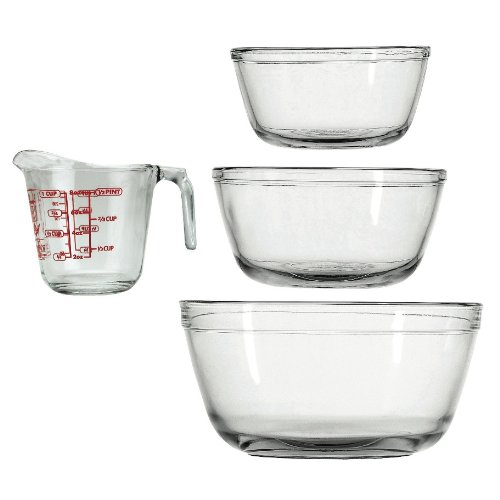 Anchor Hocking 4-Piece Mixing Bowl Set, Clear Reviews