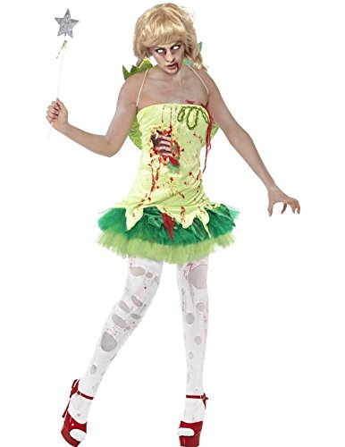 Smiffy's Women's Zombie Fairy Costume Dress with Latex Chest and Wings