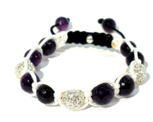 Shamballa Bracelet with Three 10mm Silver Plated Crystal Pave Beads with 10mm Dark Puple Quartz on White String Macrame and Black Lock Adjustable Handmade Unisex