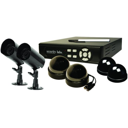Security Labs Multiplexed DVR Surveillance System with Built In Internet Remote Viewing & 6 Cameras