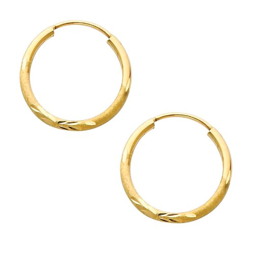 14K Yellow Gold 1.5mm Thickness Diamond Cut Satin/High Polished Elegant Endless Hoop Earrings (0.7