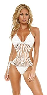 Handmade Sexy Crochet One-Piece Swimsuit Look - Large
