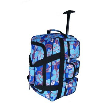 "24 "" 24 inch or 30"" 30 inch Floral Flowered Pattern Wheeled Holdall Bag Luggage on Wheels (24 inch, Blue)"