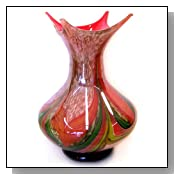 Murano Art Glass Decorative Vase 4-tip Multi-leaf Stripes A68