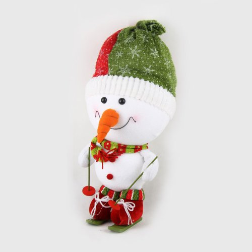 Christmas Handmade Skiing Snowman Figure Plush Toy, Christmas Decorations, SIZE L