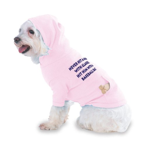 Never hit a man with glasses, hit him with a baseball bat Hooded (Hoody) T-Shirt with pocket for your Dog or Cat Size XS Lt Pink