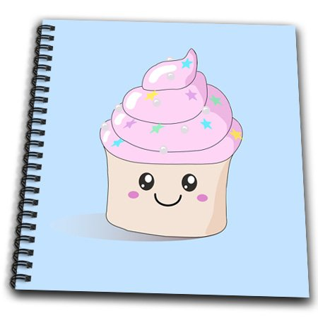 Db_76564_1 Inspirationzstore Cute Food - Cute Pink Happy Cupcake With Stars Silver Pearls On Pastel Baby Blue Kawaii Smiley Smiling Cupcakes - Drawing Book - Drawing Book 8 X 8 Inch front-86227