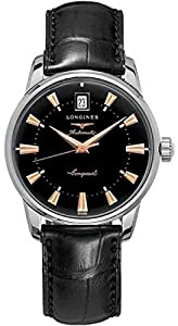 Longines Conquest Heritage Steel Men's Quartz Watch with Black Baton Dial Analogue Display and Black Leather Strap L16414524