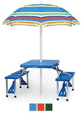 "Folding Picnic Table (Blue) (26""H x 34""W x 54"" L (overall w seats out))"