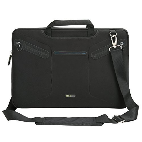 Laptop Messenger Bag, Evecase 17 ~ 17.3 inch Notebook Multi-functional Neoprene Messenger Case Tote Bag with Handle and Carrying Strap - Black