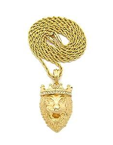 Stone Stud Crown King Lion Head Pendant w/ 2mm 24