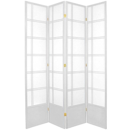 Oriental Furniture Best Quality, 84-Inch Double Cross Japanese Privacy Screen Room Divider, 4 Panel White