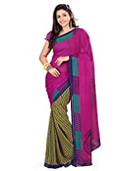 Designer Tempting Green Colored Printed Faux Georgette Saree By Triveni