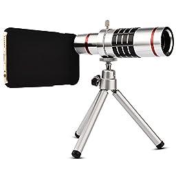 Camera Lens, elecguru Universal 18x Universal Optical Telescope Mobile Lens For Phone Samsung HTC 18X Lens with tripod (Iphone 6-18X silver)