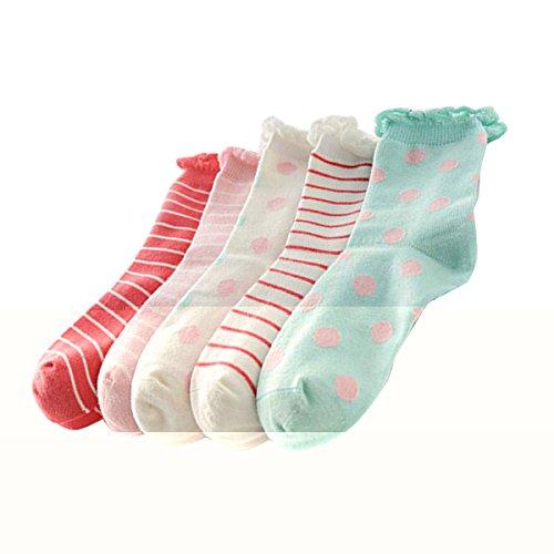 5-Paires-de-Chaussettes-en-Coton-Enfants-Filles-Rose--RayureBlanc--PoidVert--Poid