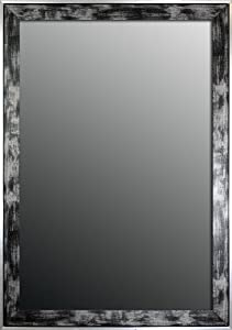 Apple Valley Scratched Wash Black/Silver Trim Framed Wall Mirror, 25-Inch by 35-Inch