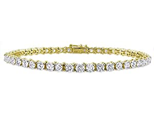 14K Yellow Gold, Diamond Tennis Bracelet, (6 cttw, GH Color, I1-I2 Clarity), 7.25