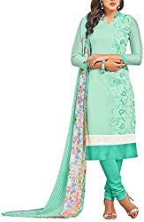 Binny Creation Women's Faux Georgette Unstitched Dress Material (Green)
