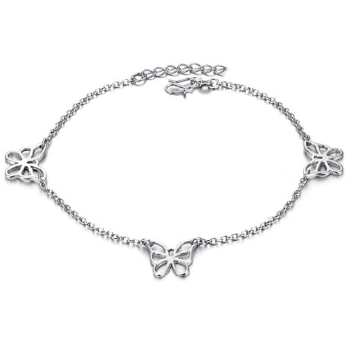 Opk Jewellery Fashion Adjustable Women's Anklet Bracelet 18K White Gold Plated Silver Hollow Butterfly Link Foot Chain New Design Stylish Personality Gift Never Fade And Nickle Free 10.04 Inch Length 4g Weight