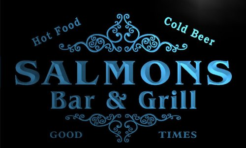 U39069-B Salmons Family Name Bar & Grill Home Brew Beer Neon Sign