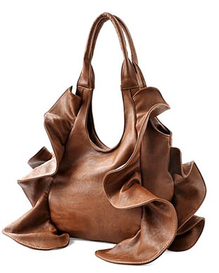 Brown Tremendous Flirty Fun Ruffle Double Handle Oversized Hobo Satchel Purse Handbag Shopper Tote Bag