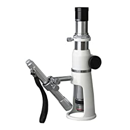 AmScope H250 Handheld Stand Measuring Microscope, 20x and 50x Magnification, 17mm Field of View, Includes Pen Light