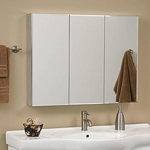 Clairement Series Aluminum Tri-View Medicine Cabinet with Mirror - Brushed Aluminum