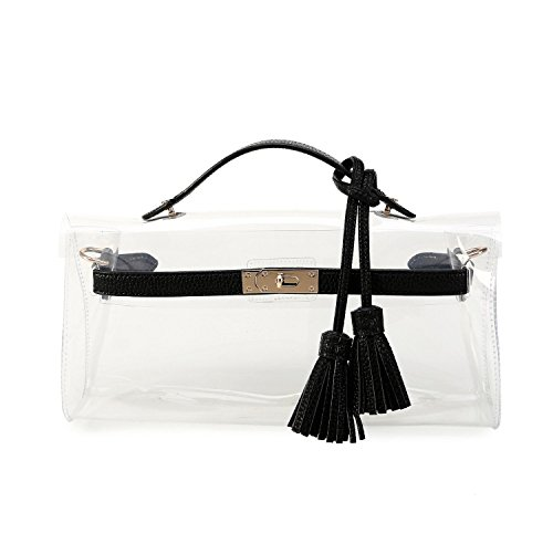 Lam Gallery Clear NFL Stadium Approved Tote Bags with Tassel See Thru Vinyl PVC Plastic Purse for Womens Transparent Jelly Handbags Shoulder Crossbody Bag (Black Jelly Bags Handbags compare prices)