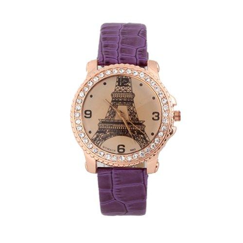 WLM Unisex Girls Boys Purple Band Eiffel Tower Rhinestone Design Leatheroid Quartz Wrist Watch Watches